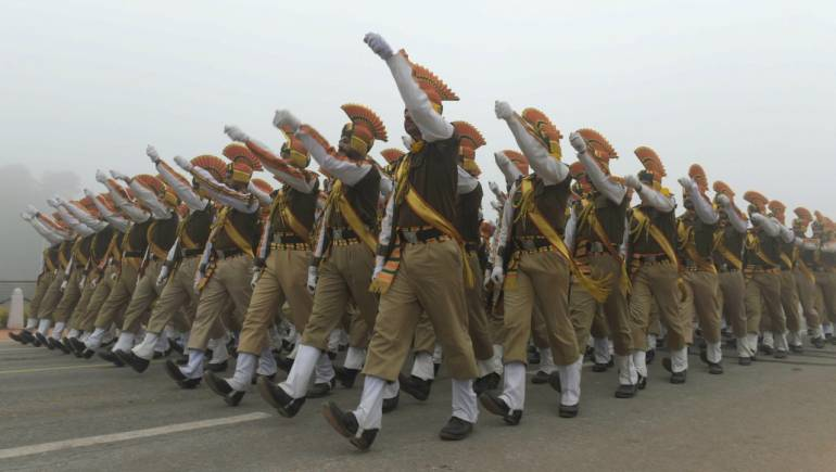 A contingent of soldiers at marching rehearsals ahead of the Republic Day parade in New Delhi. (PTI)