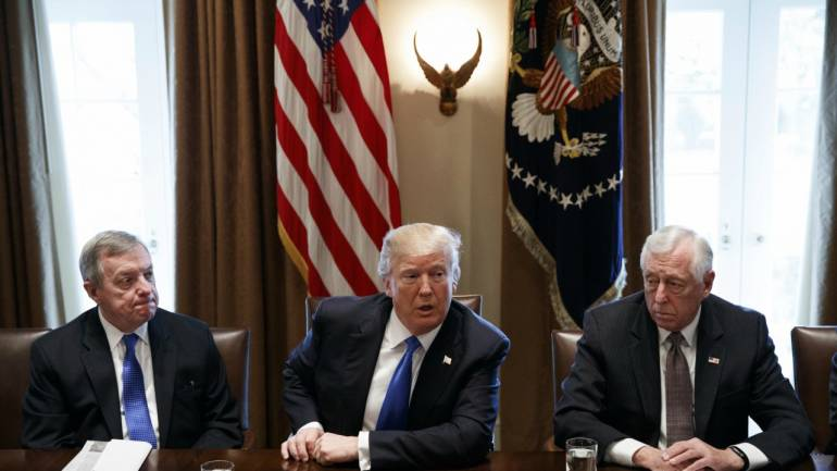 President Donald Trump speaks during a meeting with lawmakers on immigration policy in the Cabinet Room of the White House in Washington. (AP/PTI)
