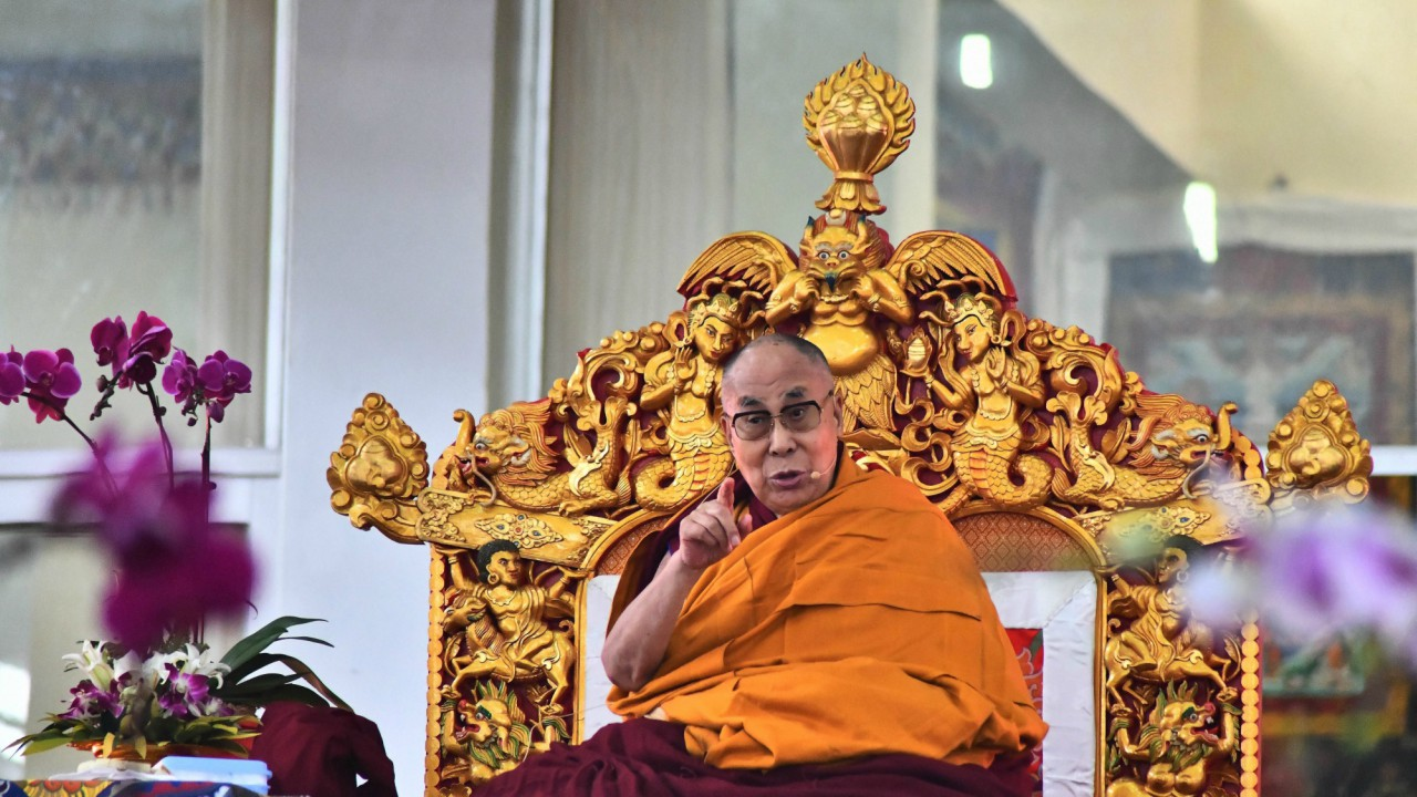 Tibetan spiritual leader Dalai Lama addresses his disciples during an event in Kalchakra Maidan, in Bodh Gaya (PTI)