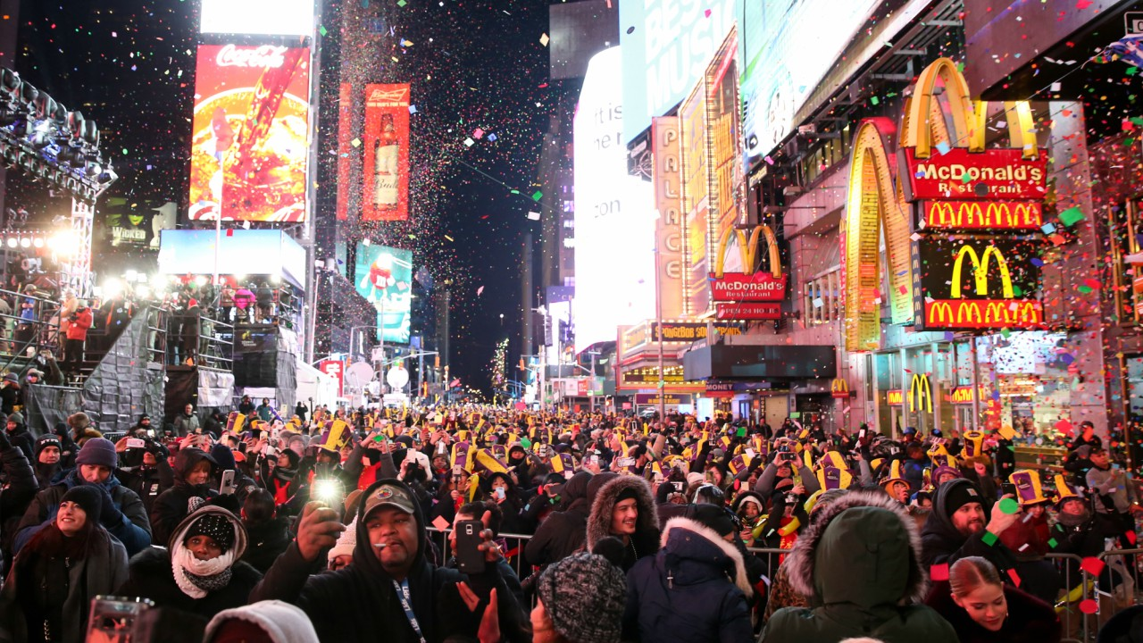 Revellers take part in New Year celebrations at Times Square in New York City (REUTERS)
