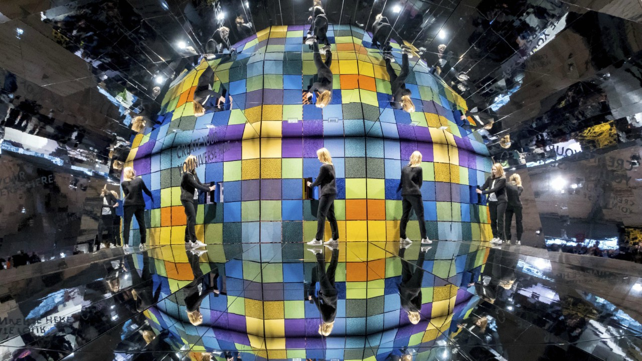 Carpet squares are displayed inside a walk-in caleidoscope at the exhibition halls for the world fair Domotex in Hannover, Germany. (AP/PTI)