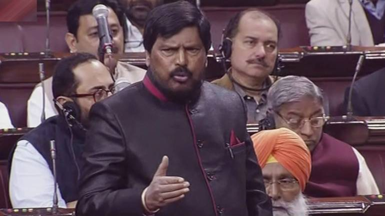 NDA MP Ramdas Athawale speaks in the Rajya Sabha in New Delhi (PTI)