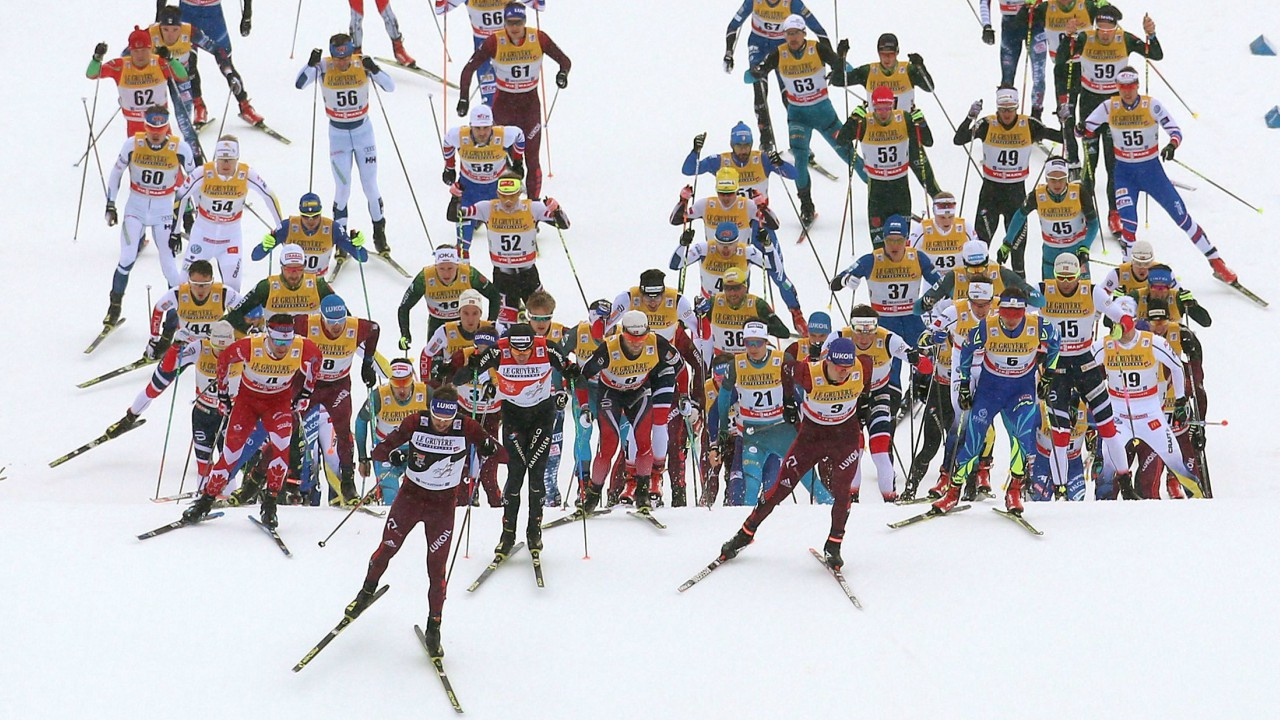 Athletes in a ski-competition at Oberstdorf, Germany (AP)