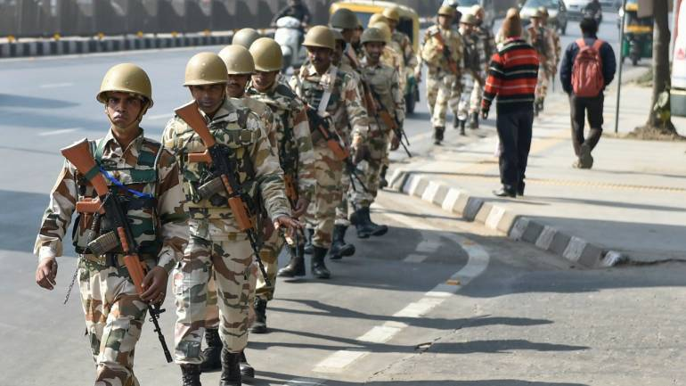 Para-military personnel patrol in ITO area, ahead of the Republic Day parade in Delhi (PTI)