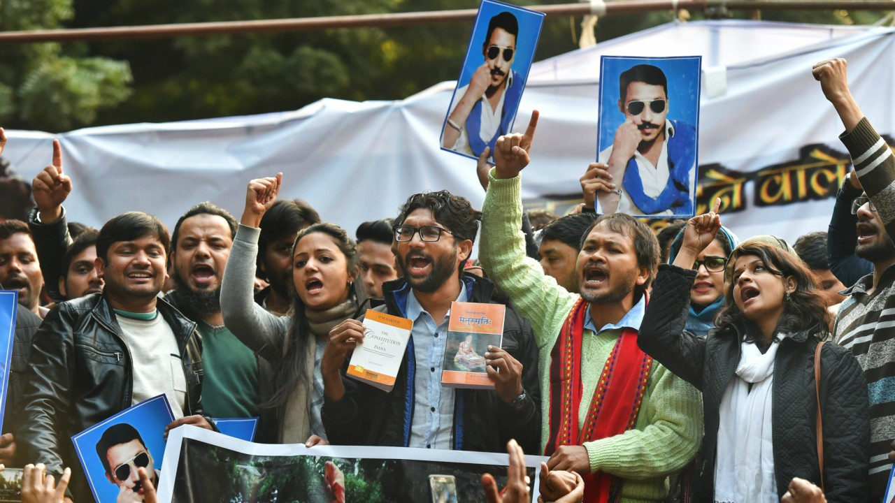 Dalit leader and Gujarat MLA Jignesh Mevan, Shehla Rashid, Kanhaiya Kumar and farmers leader Akhil Gogoi during a rally in New Delhi. (PTI)