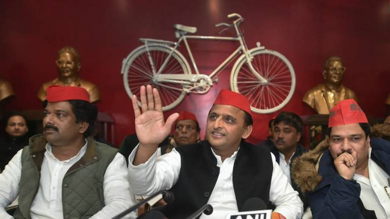 Former Uttar Pradesh chief minister and Samajwadi Party president Akhilesh Yadav with party leaders at a press conference in Lucknow on Thursday. (PTI)