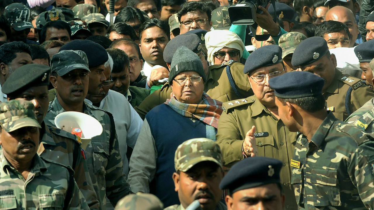 Bihar's former chief minister Lalu Yadav being produced at the special CBI court to receive his quantum of sentence in a fodder scam case, in Ranchi . (PTI)