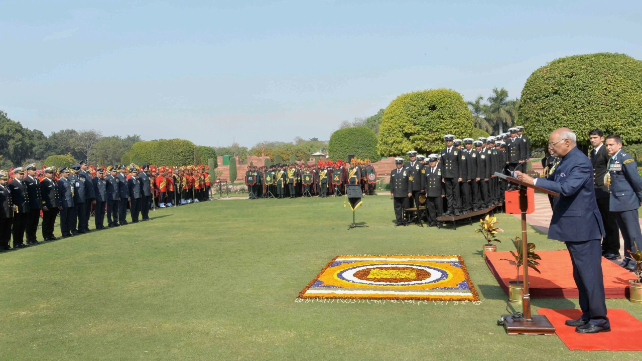 President Ram Nath Kovind meets 1100 Personnel of the Tri Service Band Contingents & 50 Provost Outrides of the Three Services at Rashtrapati Bhavan in New Delhi. (PTI)