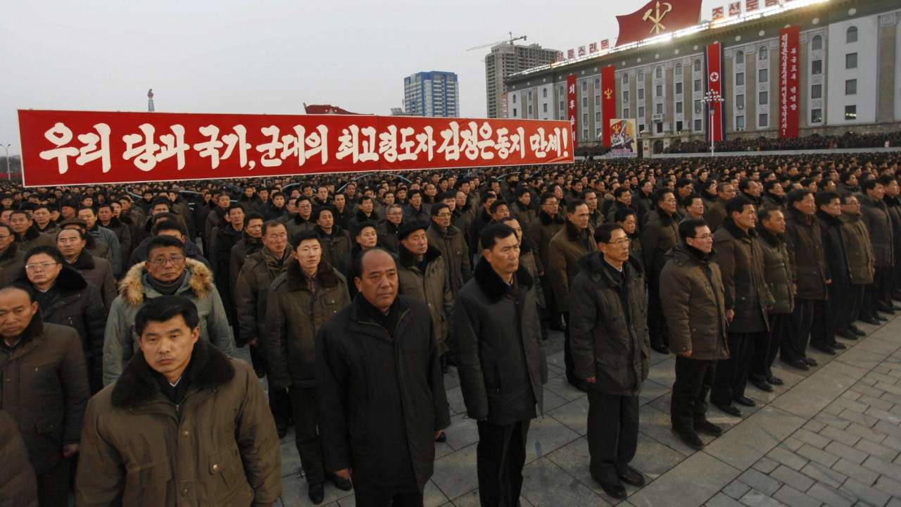 "A mass rally organizes in the Kim Il Sung Square vowing to carry through the tasks set forth by the country's leader Kim Jong Un in his New Year address in Pyongyang, North Korea, Thursday, Jan. 4, 2018. The placard reads ""Long Live Comrade Kim Jong Un, Supreme leader of our party, state and army!"" (AP)"