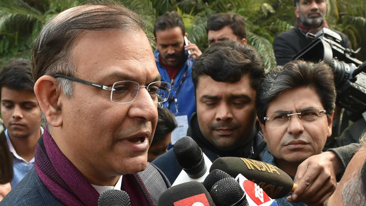 MoS for Civil Aviation Jayant Sinha talks to media during the on-going winter session of Parliament , in New Delhi (PTI)
