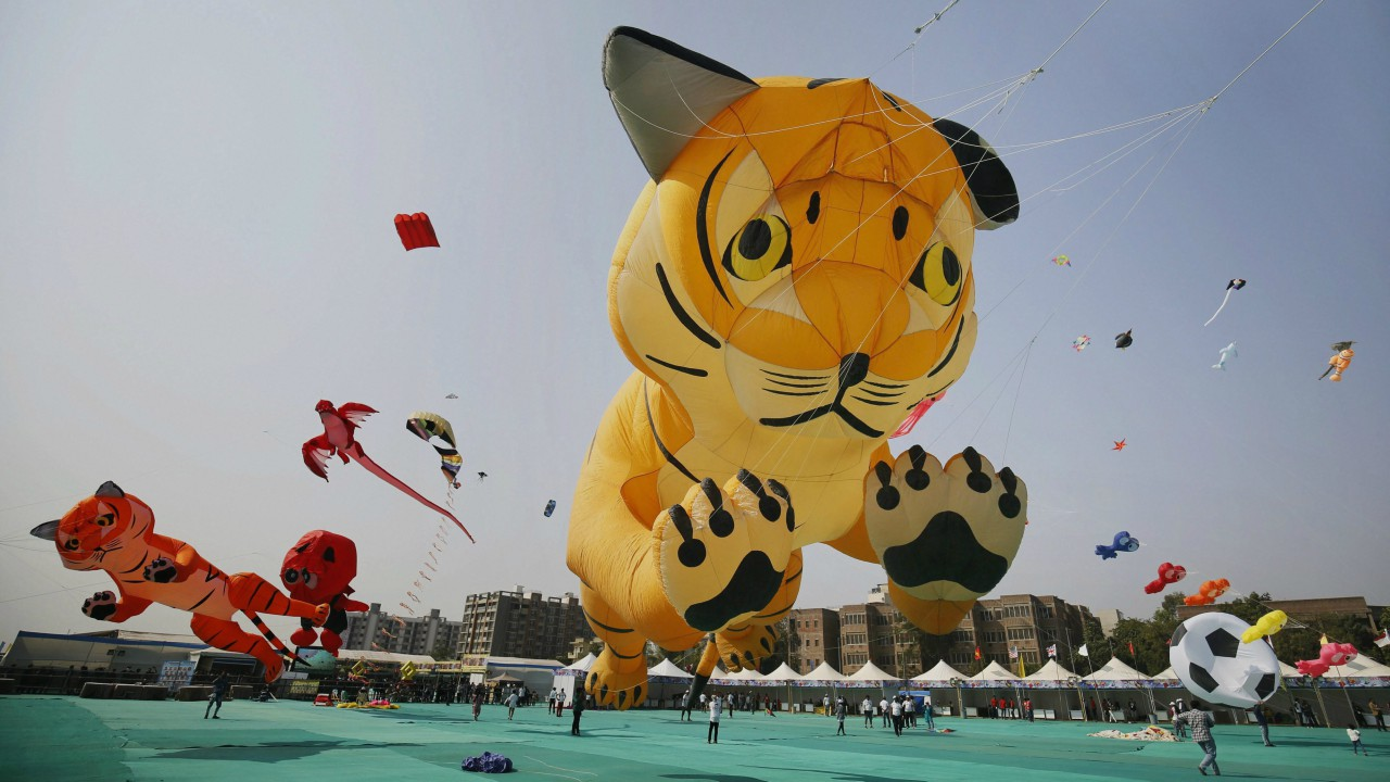 Enthusiasts flying kites in the shapes of various animals and birds on the second day of International Kite Festival, in Ahmedabad (PTI)