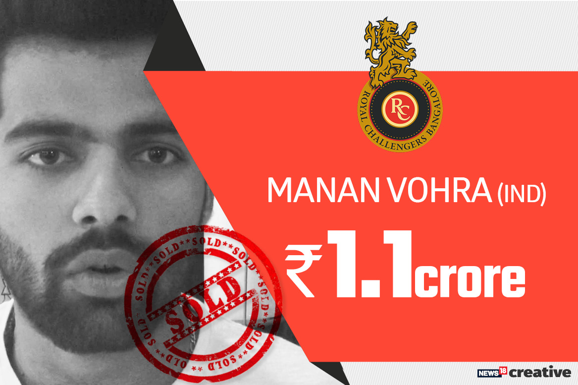 Manan Vohra | Team: Royal Challengers Bangalore | Sold for: Rs 1.1 crore