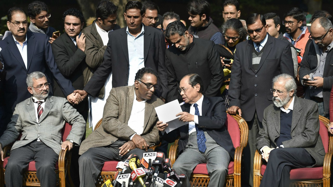Supreme Court judge Jasti Chelameswar,along with jusctice Ranjan Gogoi, Madan Lokur and Kurian Joseph during a press conference at his residence in New Delhi on Friday. (PTI)