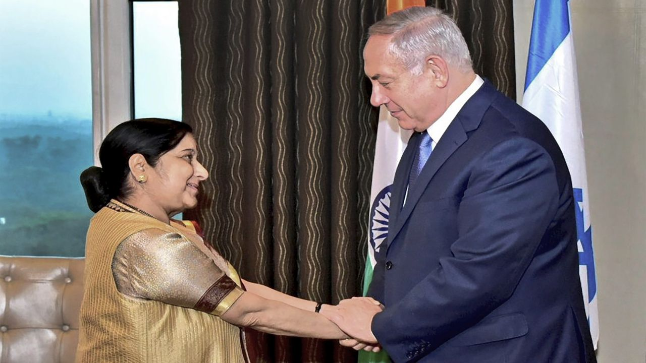 External Affairs Minister Sushma Swaraj called on Israeli Prime Minister Benjamin Netanyahu and discussed various aspects of the Indo-Israel ties aimed at strengthening the strategic partnership. (PTI)
