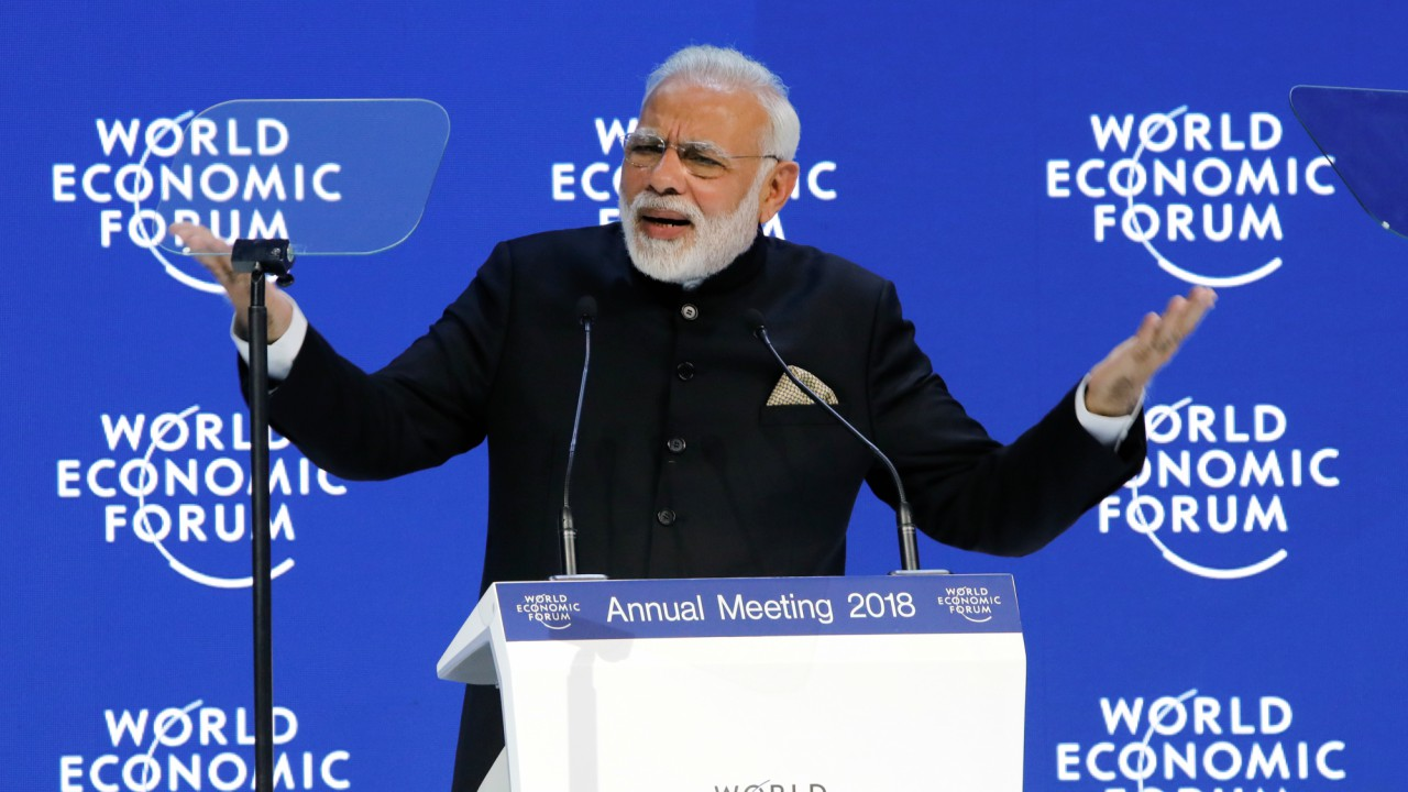 Prime Minister Narendra Modi speaking at the World Economic Forum at Davos, Switzerland (REUTERS)