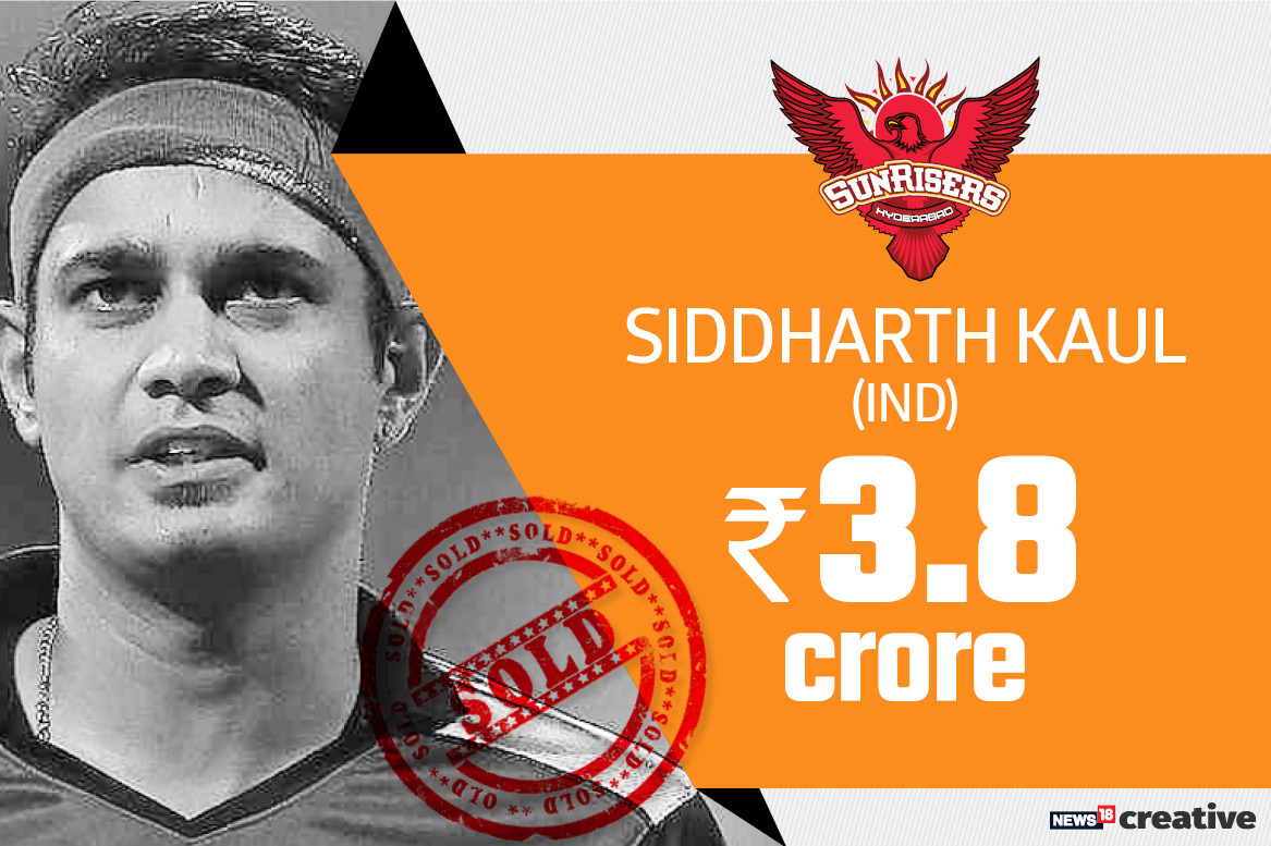 Siddharth Kaul | Team: Sunrisers Hyderabad | Sold for: Rs 3.8 crore