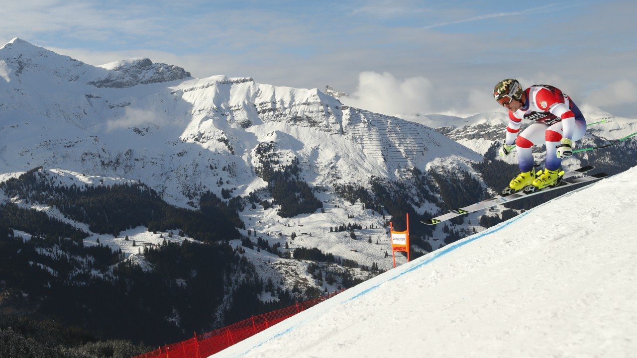 Marko Vukicevic of Serbia in the FIS Alpine Skiing World Cup, Men's Downhill Training , in Wengen, Switzerland. (REUTERS)
