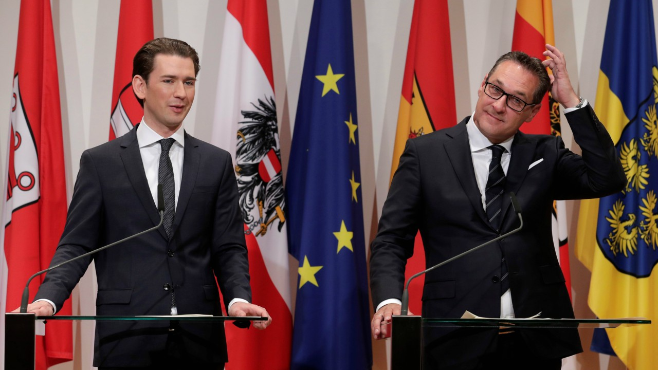 Austria's Chancellor Sebastian Kurz (L) and Vice Chancellor Heinz-Christian Strache address a news conference after a two-day cabinet meeting in Seggau, Austria (REUTERS)