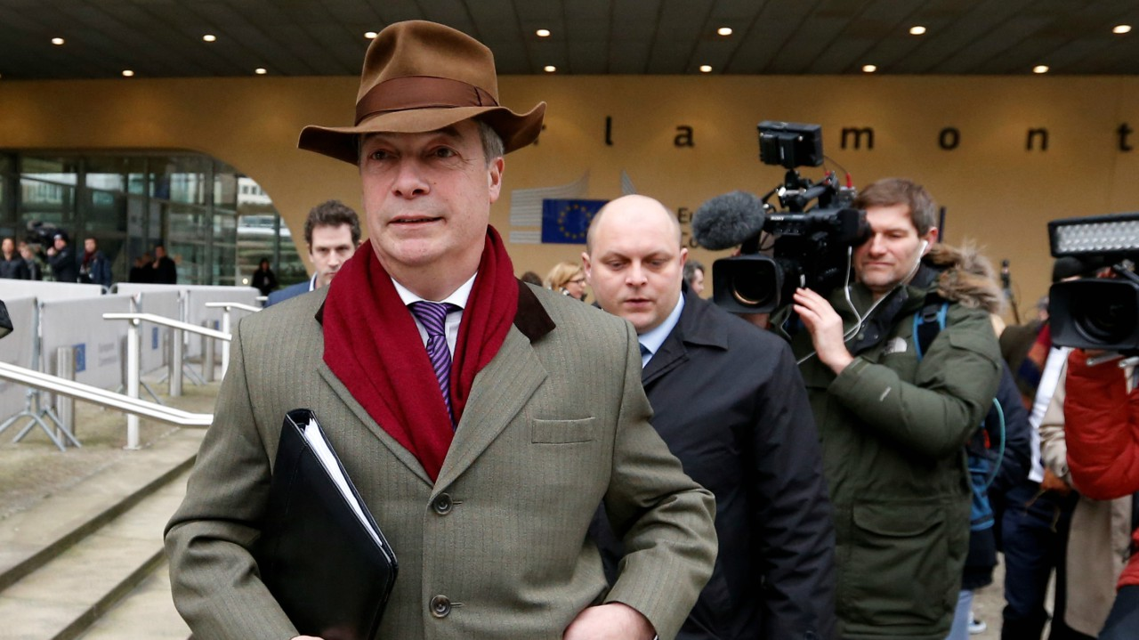 Brexit campaigner Nigel Farage leaves a meeting with European Union's chief Brexit negotiator Michel Barnier (unseen) at the EU Commission headquarters in Brussels, Belgium (Reuters)
