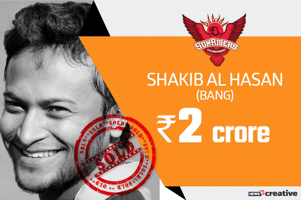 Shakib Al Hasan | Team: Sunrisers Hyderabad | Sold for: Rs 2 crore