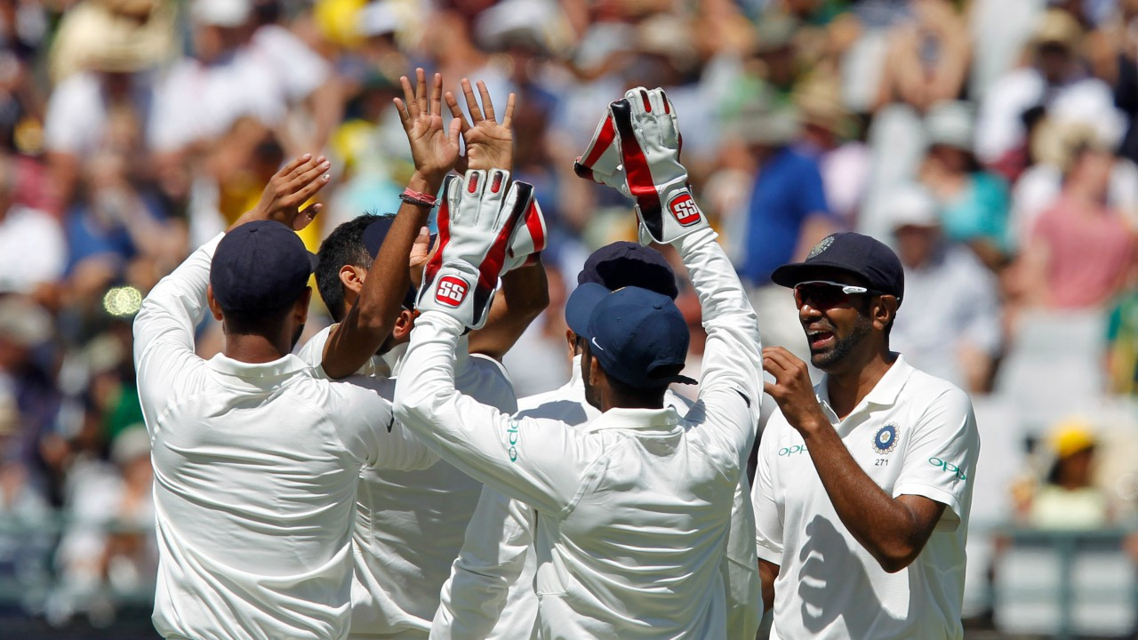 Cricket - India v South Africa - First Test cricket match - Newlands Stadium, Cape Town, South Africa - 05/01/2018. India's cricket players celebrate the dismissal of South Africa's AB de Villiers. (REUTERS)
