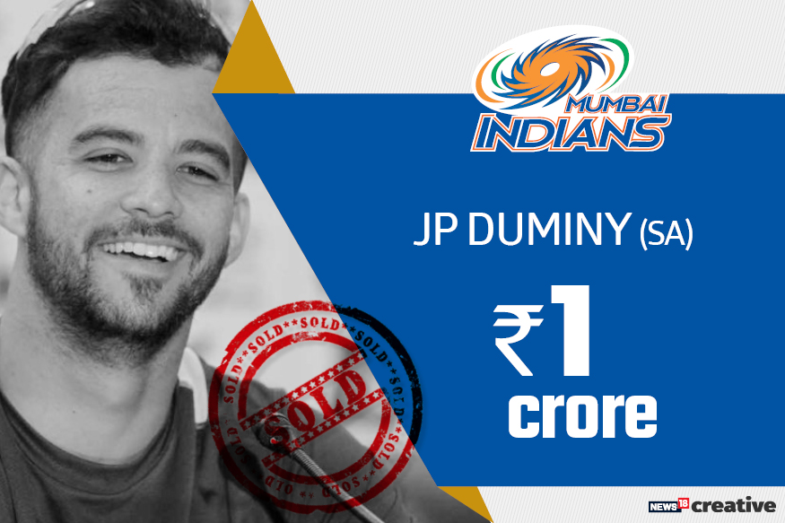 JP Duminy | Team: Mumbai Indians | Sold for: Rs 1 crore