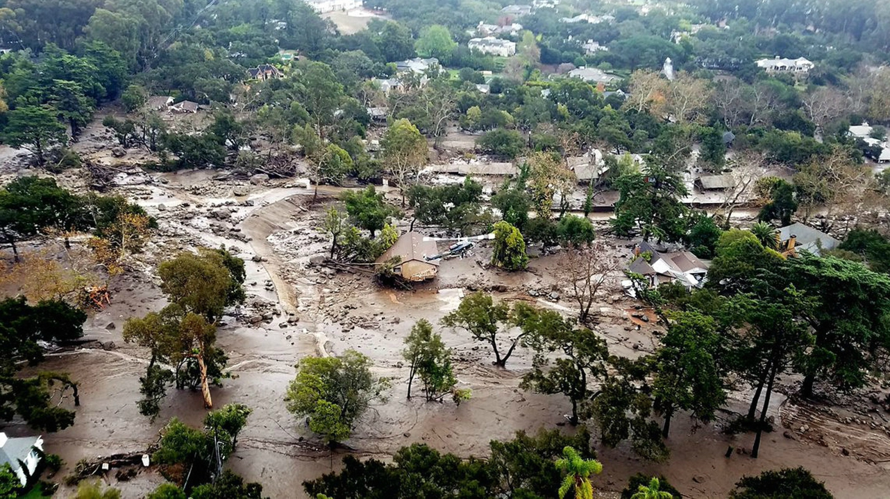 This aerial photo provided by the Santa Barbara County Fire Department shows mudflow and damage to homes in Montecito, California. (AP/PTI)
