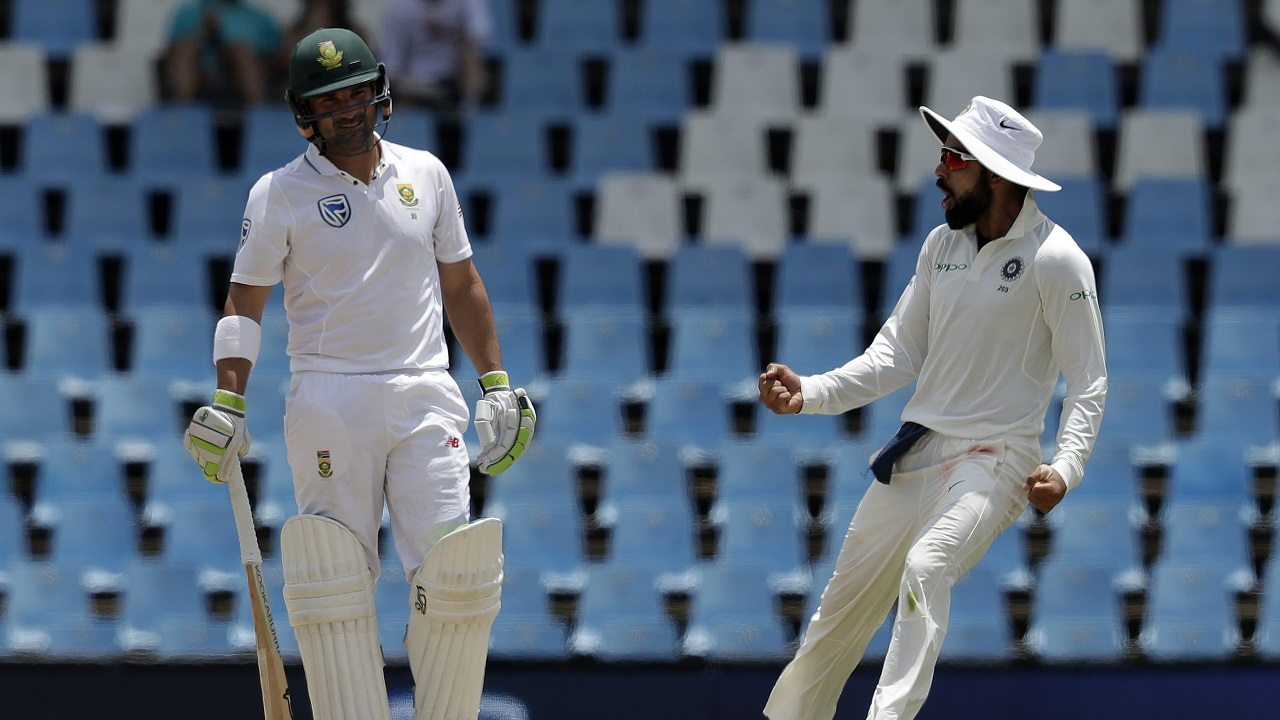 India's captain Virat Kohli celebrates the dismissal South Africa's batsman Dean Elgar during Day 4 of the second Test at Centurion Park in Pretoria, South Africa. (AP/PTI)
