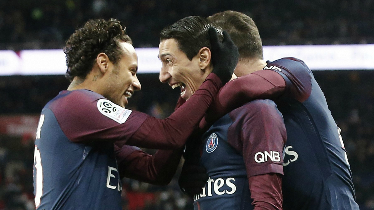 PSG's Angel Di Maria, center right, celebrates with PSG's Neymar, after scoring during his French League One soccer match between Paris-Saint-Germain and Dijon, at the Parc des Princes stadium in Paris, France, Wednesday, Jan.17, 2018. (AP/PTI)