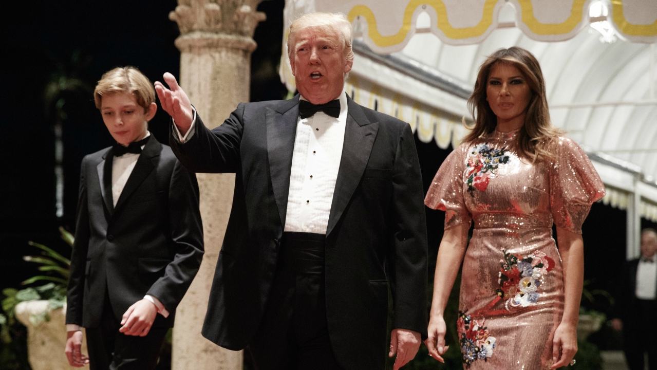 President Donald Trump, first lady Melania Trump, and their son Barron arrive for a New Year's Eve gala at his Mar-a-Lago resort in Palm Beach. (AP/PTI)
