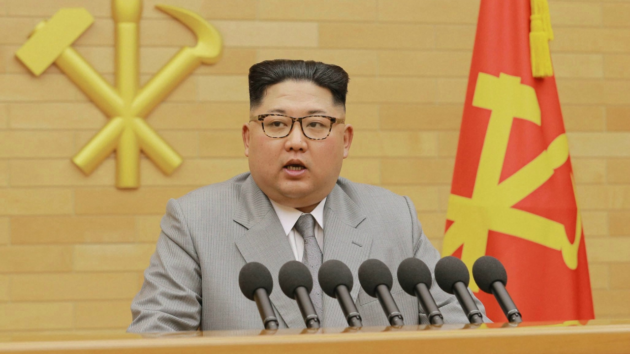 North Korean leader Kim Jong Un delivers his New Year's speech at an undisclosed place in North Korea Monday. (AP/PTI)