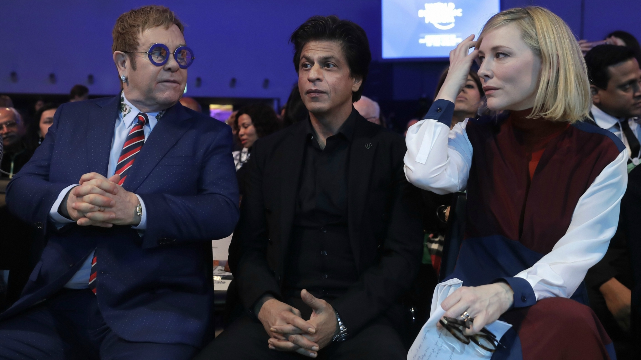 British musician Elton John, Indian actor Shah Rukh Khan and Australian actress Cate Blanchett, from left, wait for the ceremony for the Crystal Awards, a day before the annual WEF meet (AP/PTI)