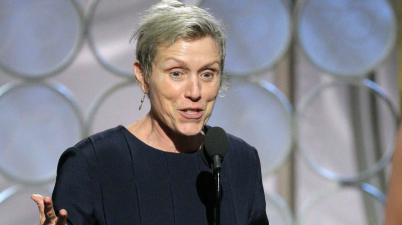 "Frances McDormand accepting the award for best actress in a motion picture drama for her role in ""Three Billboards Outside Ebbing, Missouri"" (Source: PTI)"