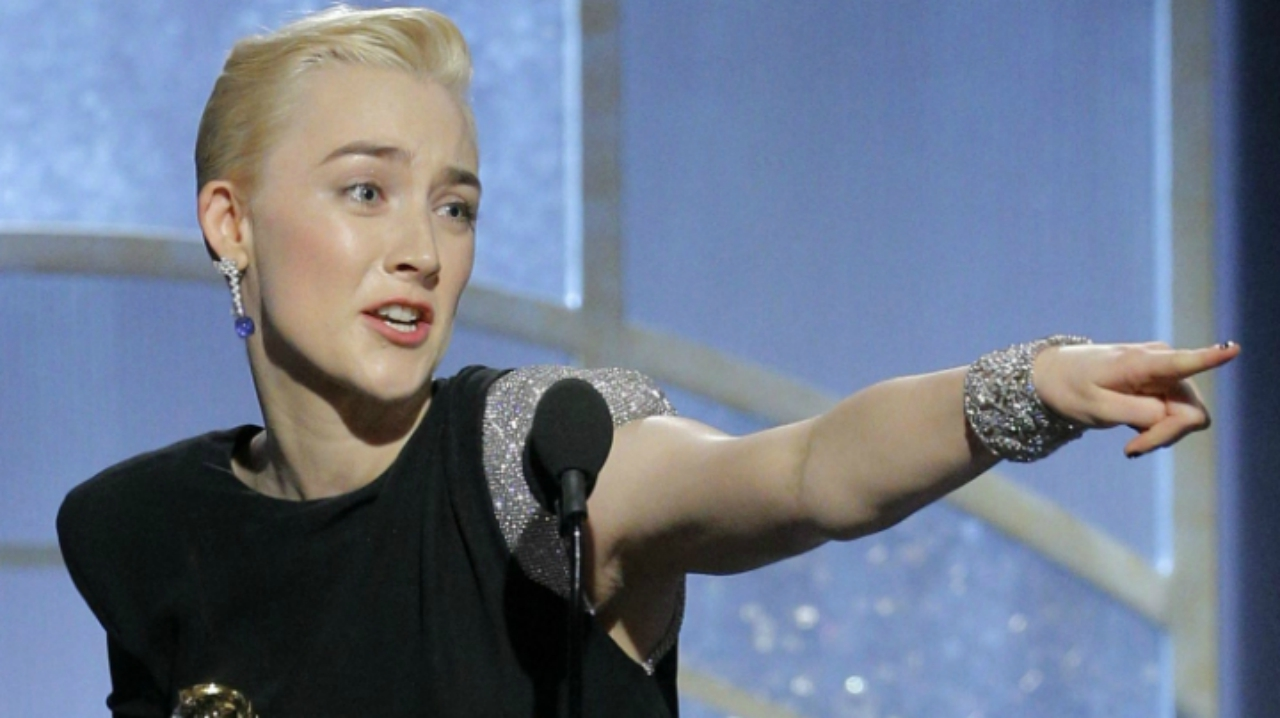 "Saoirse Ronan accepting the award for best actress in a motion picture comedy or musical for her role in ""Lady Bird"" (Source: PTI)"