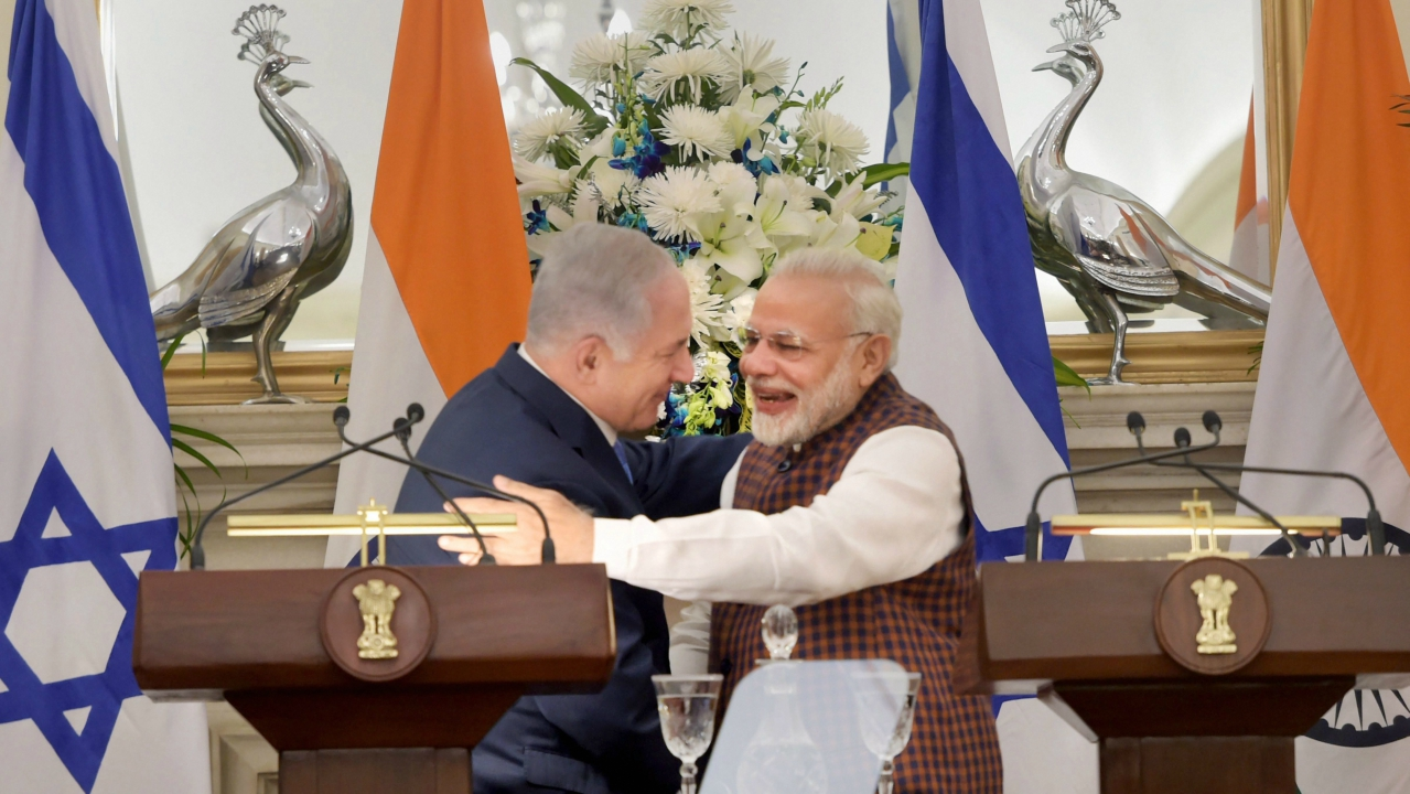 Prime Minister Narendra Modi and his Israeli counterpart Benjamin Netanyahu during a media interaction at Hyderabad House in New Delhi on  Monday. (PTI)