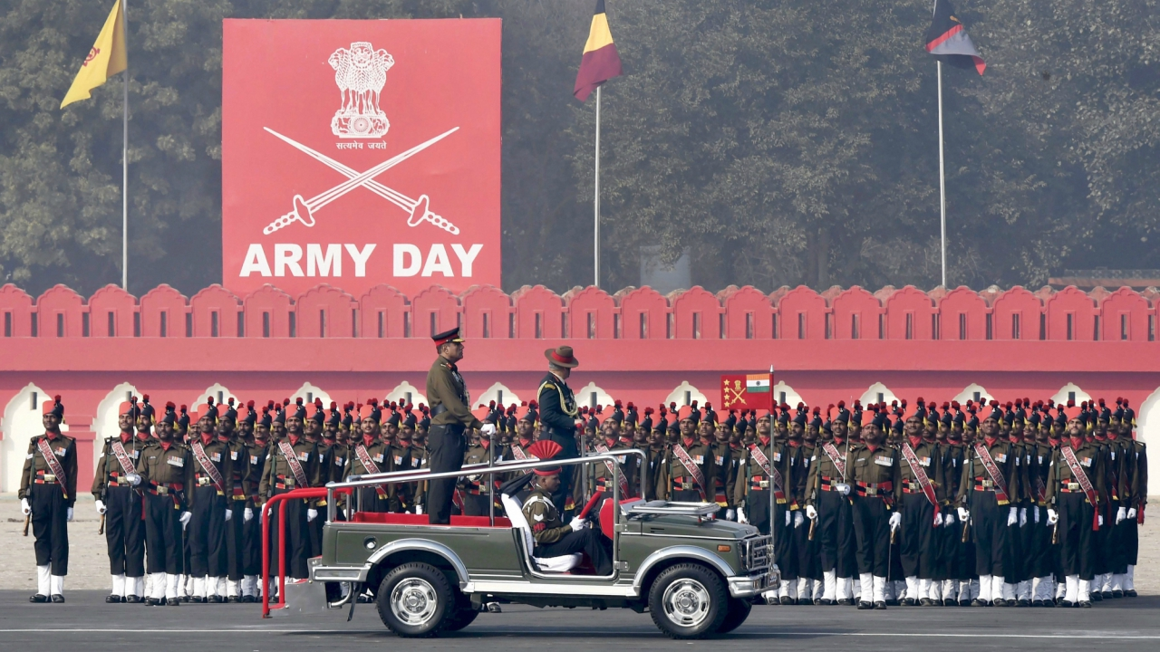 Army Chief Gen Bipin Rawat inspecting guard of honour during the Army Day Parade in New Delhi. (PTI)