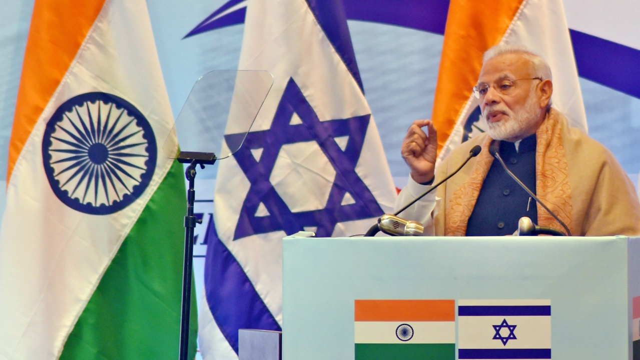 Prime Minister Narendra Modi speaks during India Israel Business Summit in New Delhi on Monday. (PTI)