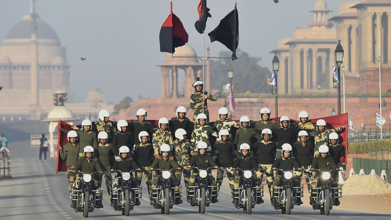Border Security Force (BSF)'s women daredevils perfom on motorcycles during a rehearsal for the Republic Day parade, in New Delhi. (PTI)