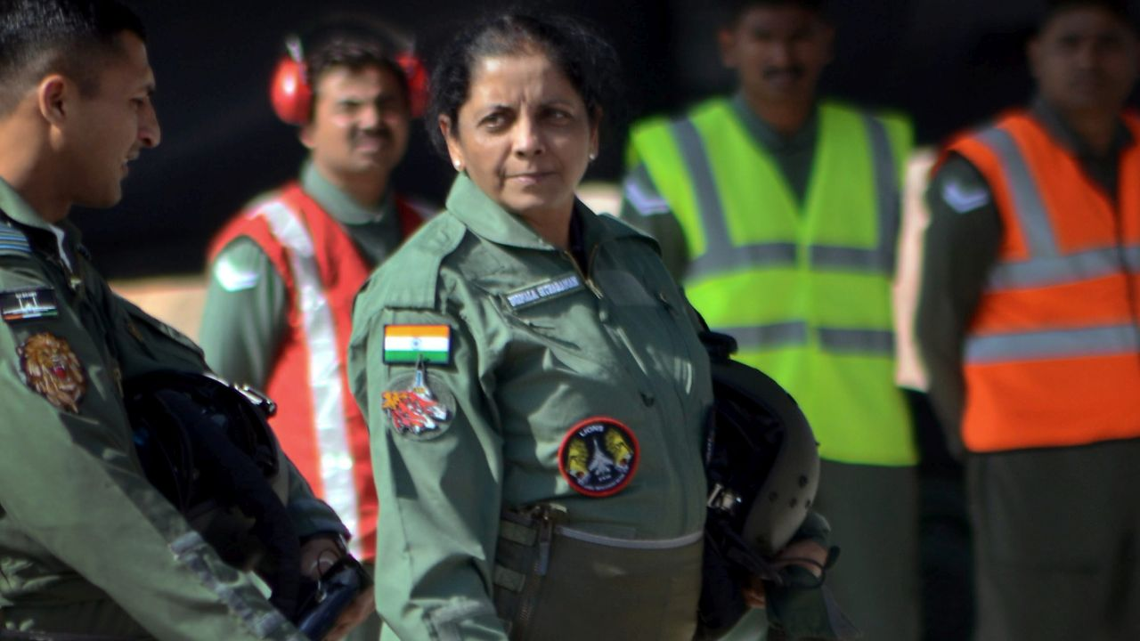 Defence Minister Nirmala Sitharaman before flying in an IAF's Sukhoi-30 MKI plane, in Jodhpur. (PTI)