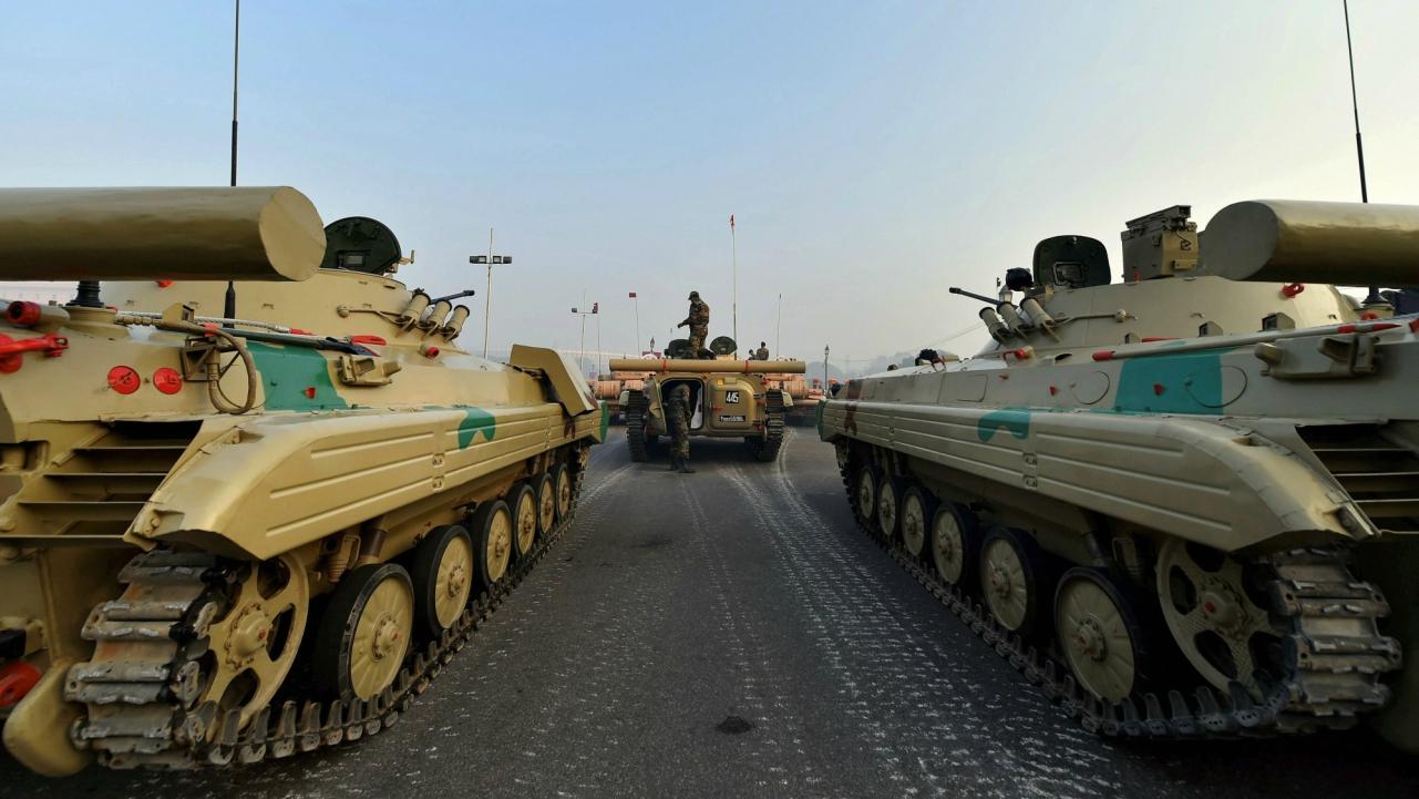 Army tank at Vijay Chowk during the Republic Day parade rehearsal, in New Delhi. (PTI)