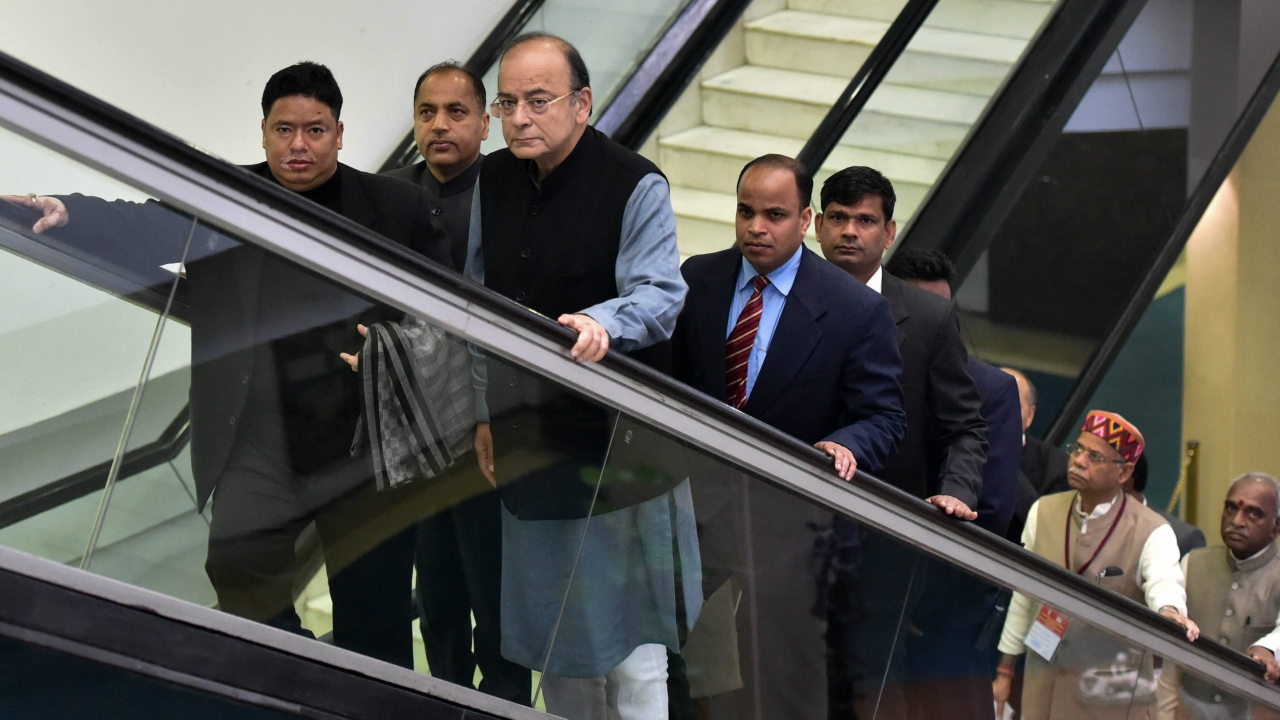 Union Finance Minister Arun Jaitley arrives for a GST meeting at Vigyan Bhavan, in New Delhi. (PTI)