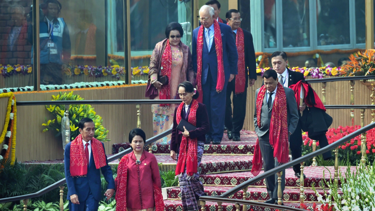 Chief guests and heads of states of Governments of ASEAN nations leave after attending the 69th Republic Day function at Rajpath in New Delhi (PTI)