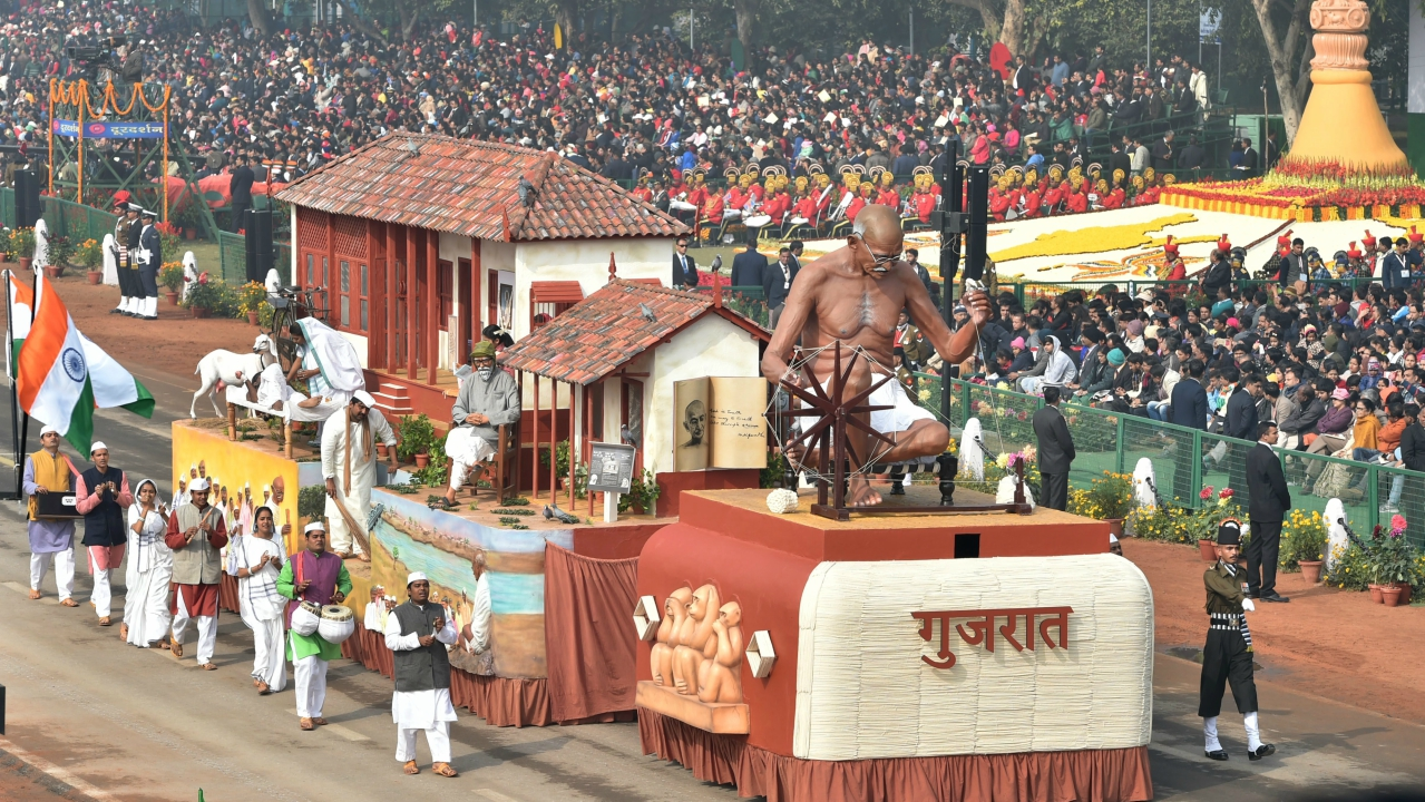 A tableau of Gujarat state on display at Rajpath during the 69th Republic Day Parade, in New Delhi (PTI)