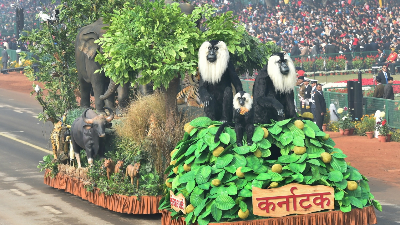 A tableau of Karnataka state on display at Rajpath during the 69th Republic Day Parade, in New Delhi (PTI)