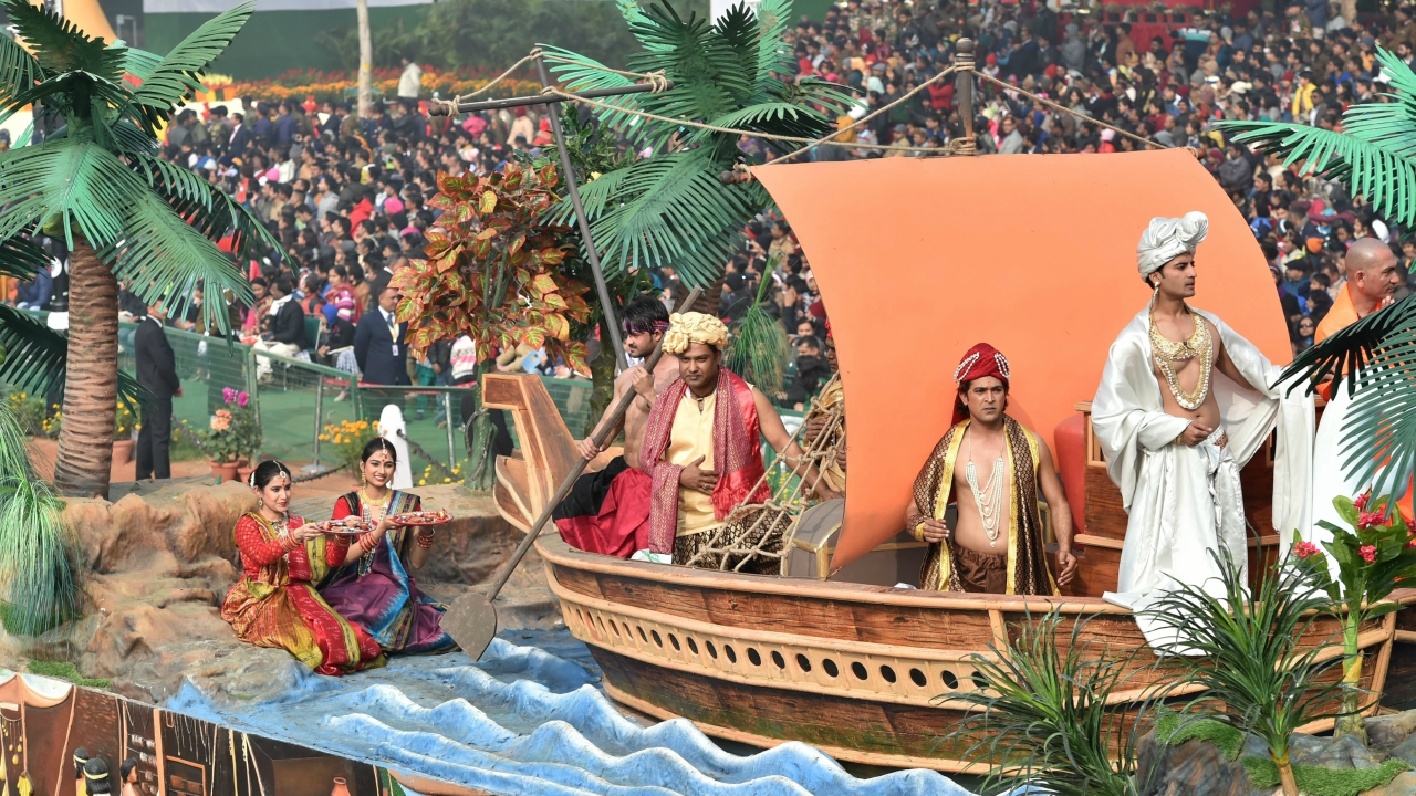 A tableau of Tripura state on display at Rajpath during the 69th Republic Day Parade, in New Delhi (PTI)