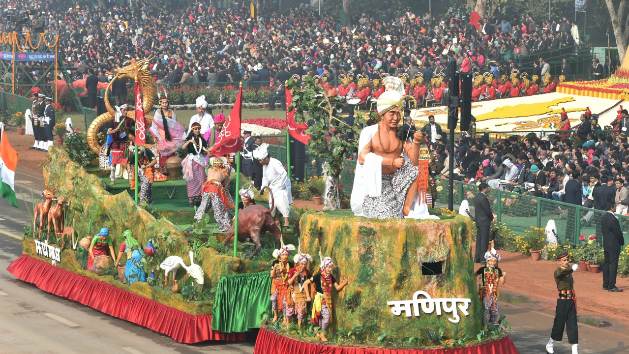 A tableau of Manipur state on display at Rajpath during the 69th Republic Day Parade, in New Delhi (PTI)