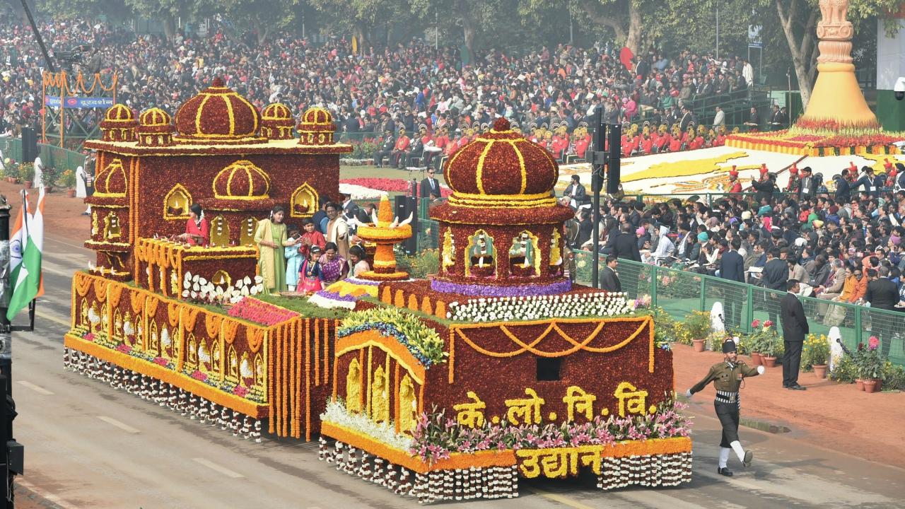 CPWD's floral tableau on display at Rajpath during the 69th Republic Day Parade, in New Delhi (PTI)