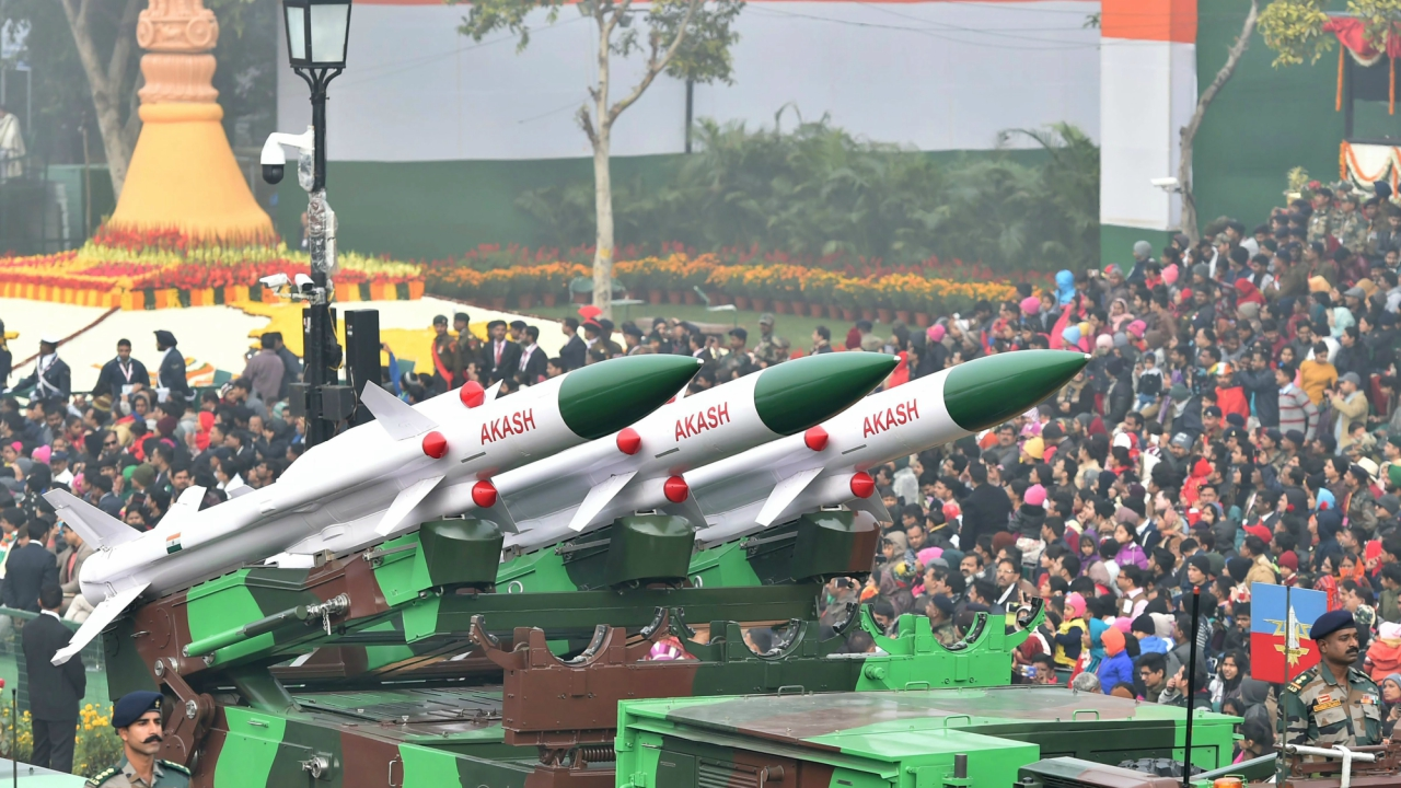 A display of Akash weapon system at Rajpath during the 69th Republic Day Parade, in New Delhi (PTI)