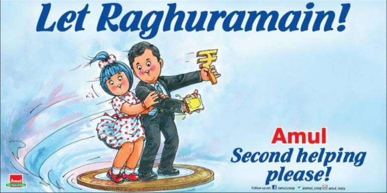 Answer 13: Amul asking for Raghram Rajan to remain as RBI Governor.