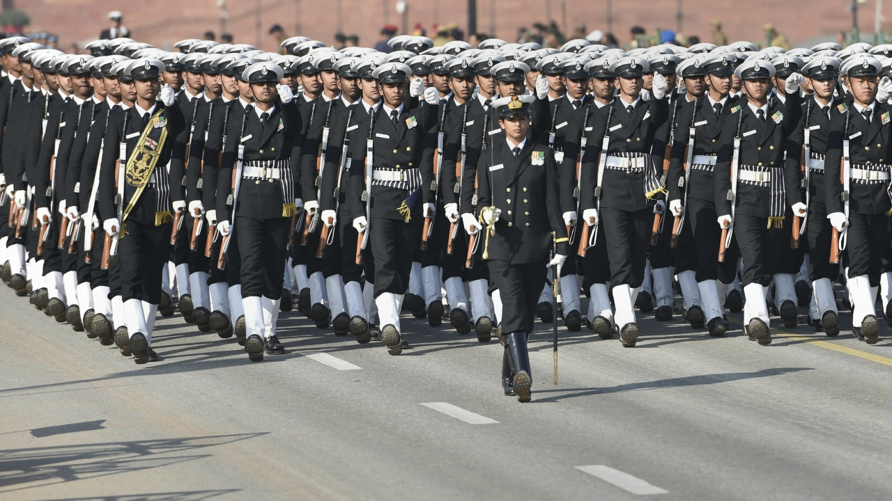 A marching contingent of the India Navy during the Republic Day parade rehearsal at Rajpath in New Delhi on Sunday. (PTI Photo)